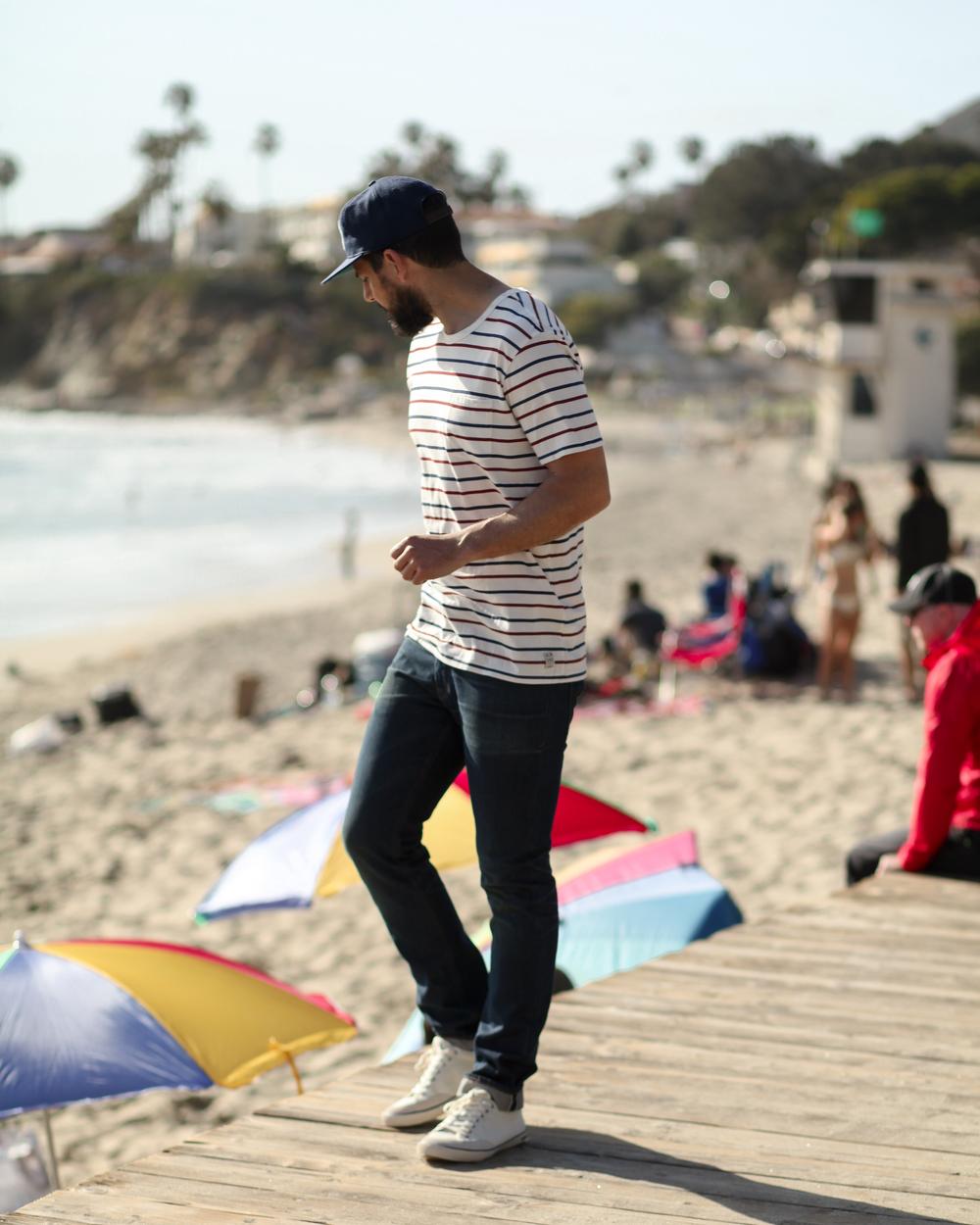 Ebbets Laguna Beach Ball Cap   Almond Westport Stripe Tee   Freenote Cloth 6 Month Wash Selvedge Denim   SeaVees Westwood Sneaker