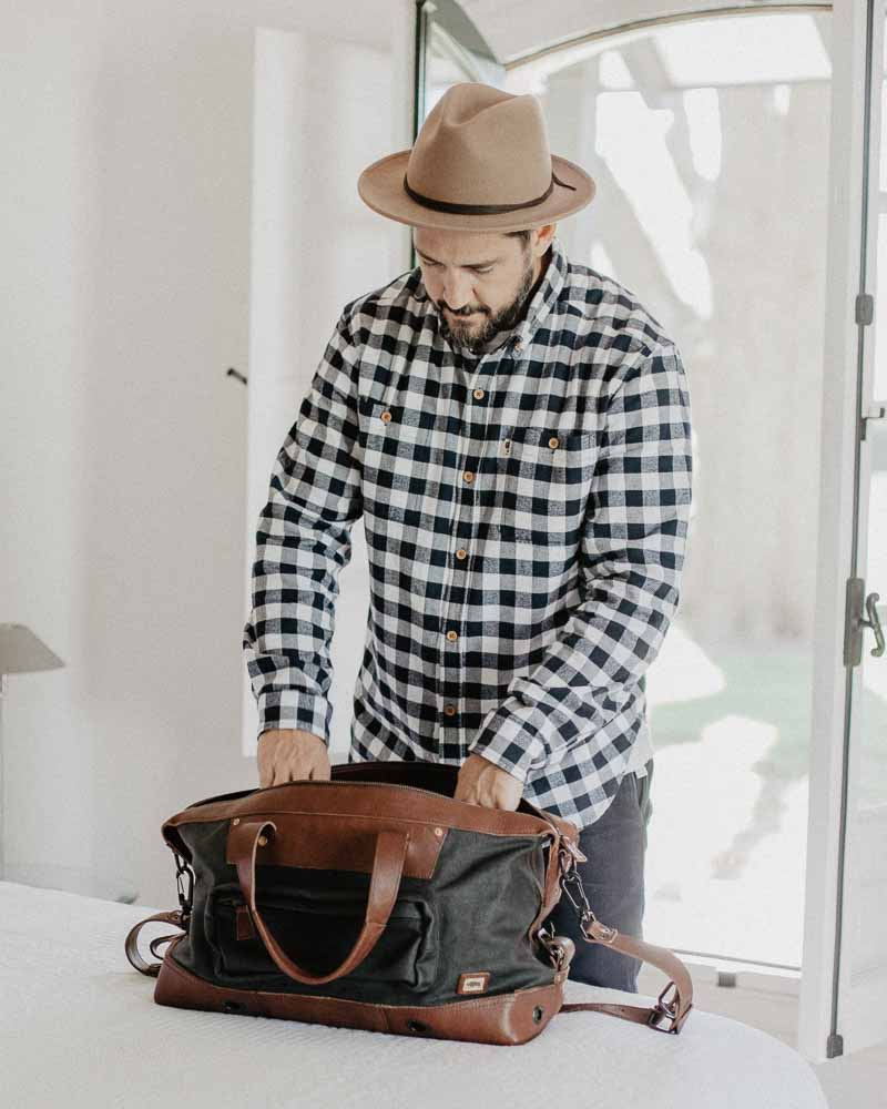 Lifestyle blogger Devin McGovern of Outlined Cloth features Buffalo Jackson flannel in Argentina