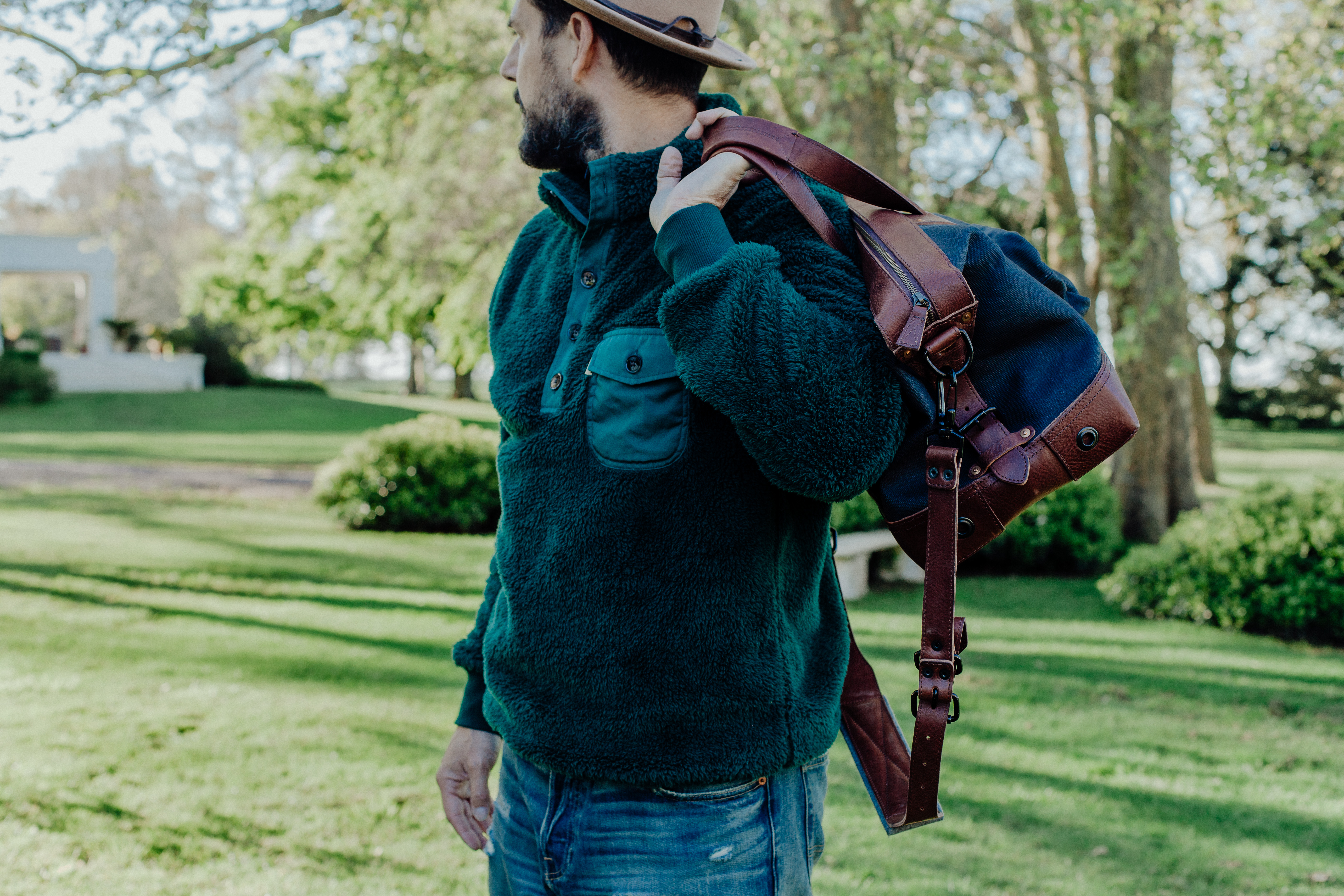 Lifestyle blogger Devin McGovern of Outlined Cloth features Buffalo Jackson Kodiak pullover in Argentina