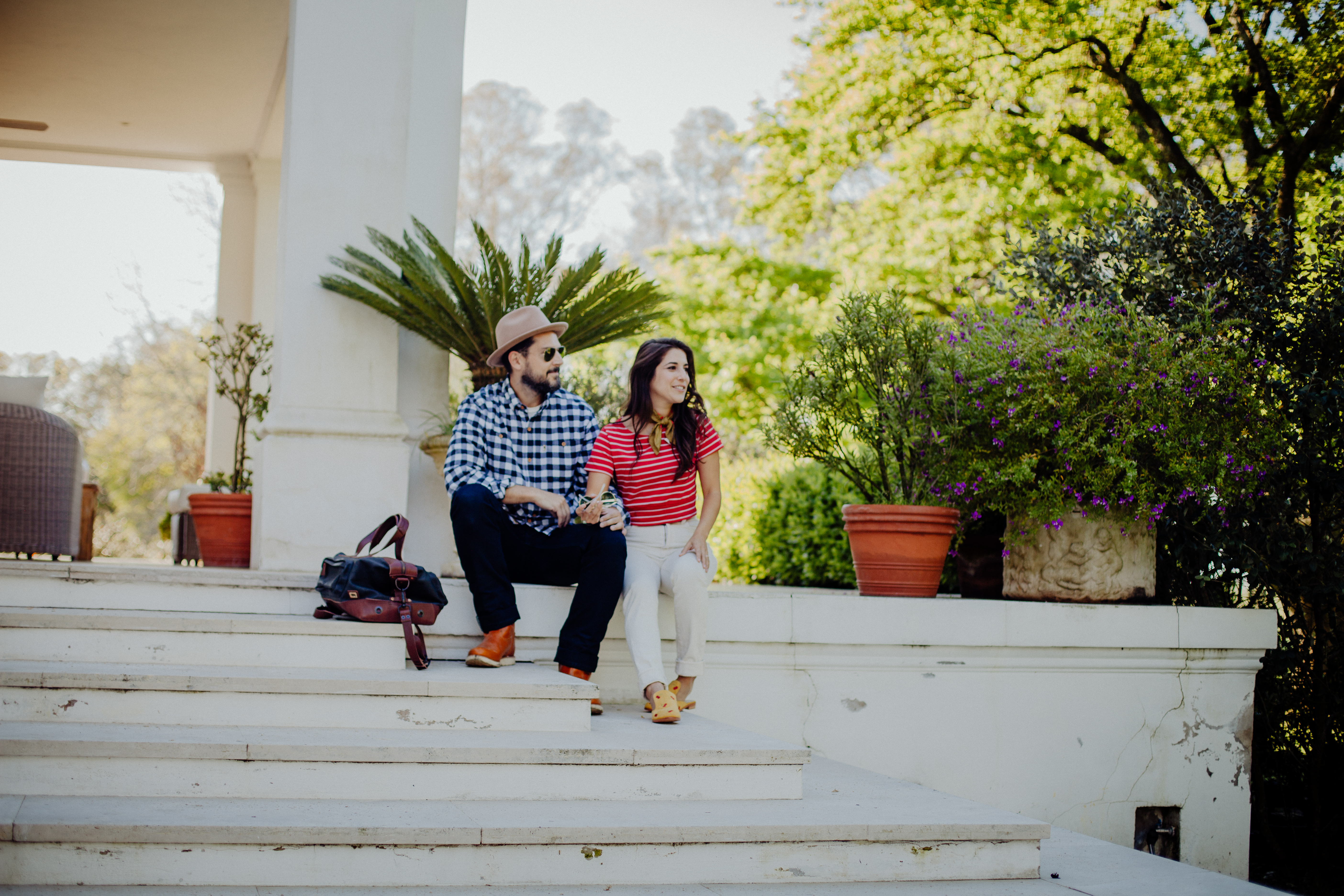 Lifestyle bloggers Devin McGovern and wife Marlene Martinez of Outlined Cloth relax in Argentina