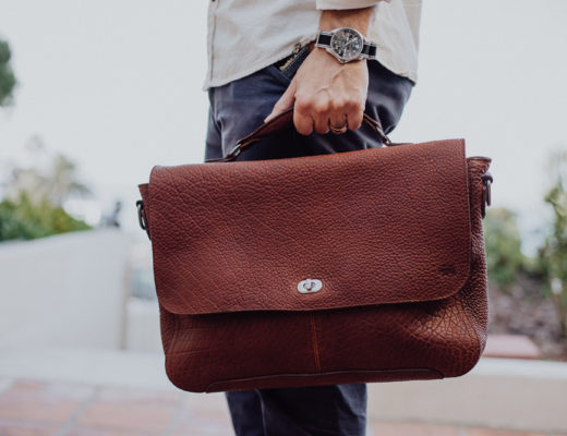 Lifestyle blogger Devin McGovern of Outlined Cloth features Buffalo Jackson messenger bag