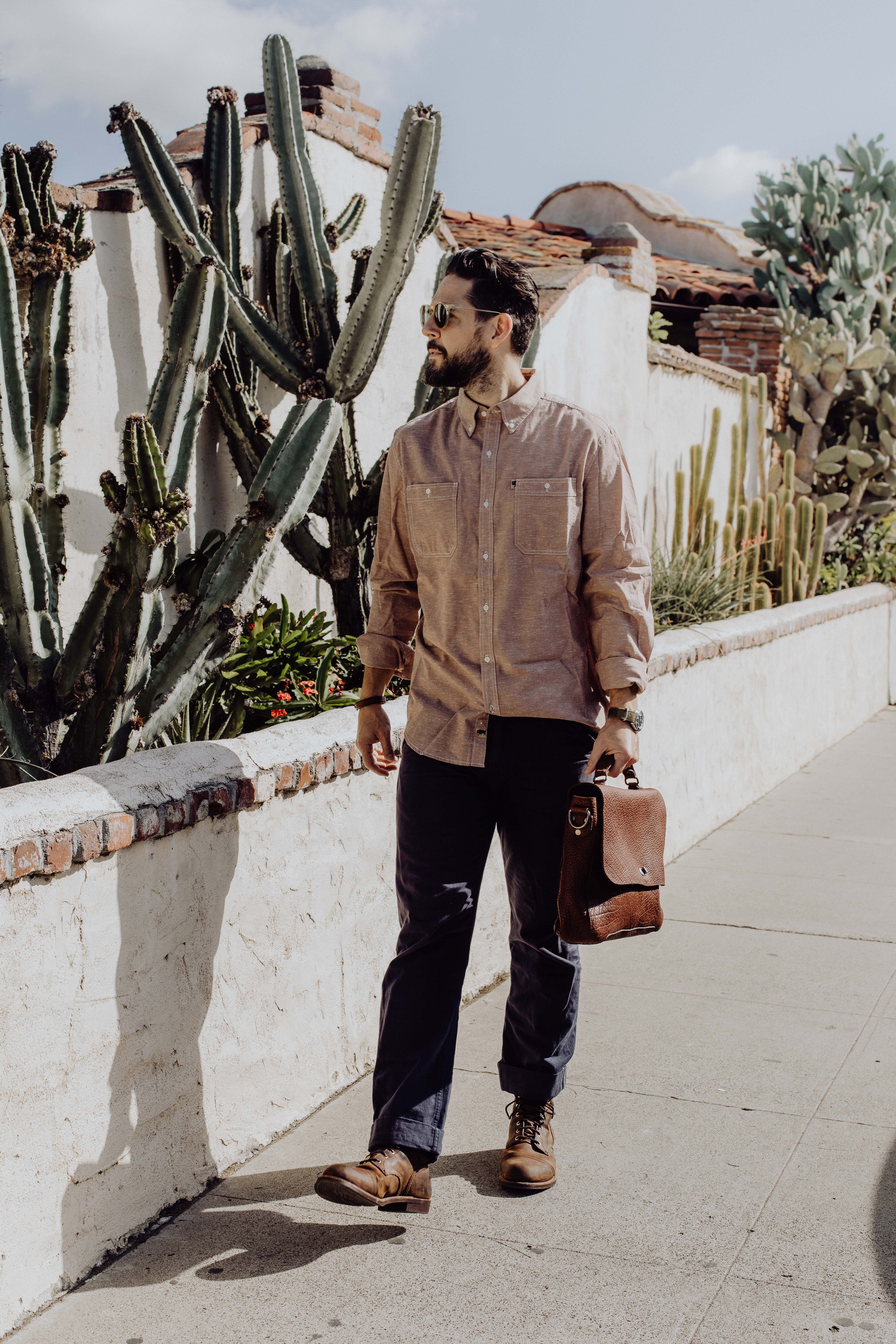 Fashion blogger Devin McGovern of Outlined Cloth features Buffalo Jackson messenger bag