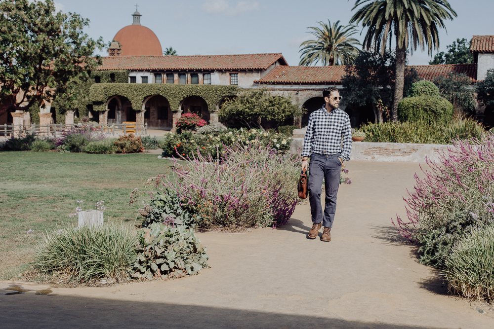 Lifestyle blogger Devin McGovern of Outlined Cloth features Buffalo Jackson messenger bag while exploring in San Juan Capistrano