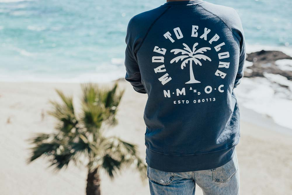 Lifestyle blogger Outlined Cloth releases sweatshirt collab with Laguna Beach shop North Menswear.