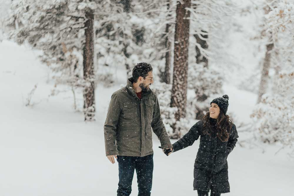 Lifestyle blogger Devin McGovern and wife Marlene Martinez explore the snowy mountains of Big Bear California