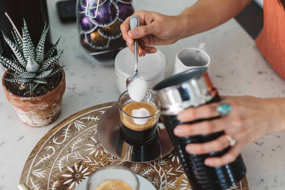 Lifestyle blogger Devin McGovern and wife Marlene Martinez morning coffee with Nespresso